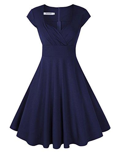 KOJOOIN Damen Vintage Kleid Cocktailkleid Abendkleid Ballkleid Rockabilly Taillenbetontes Kleid Knielang Dunkelblau V-Ausschnitt L