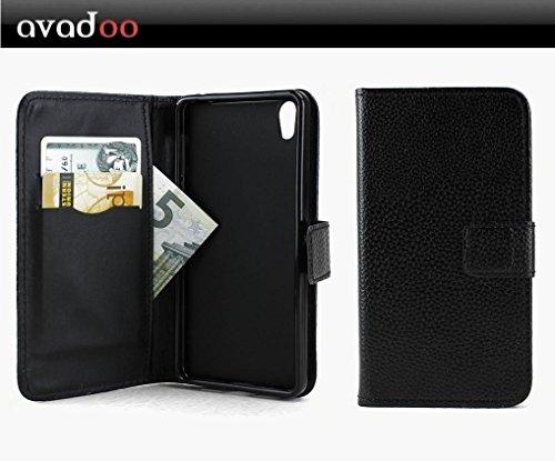 avadoo® Medion Life X5020 Flip Case Cover Tasche Schwarz mit Magnetverschluss und Dualnaht als Cover Tasche Hülle