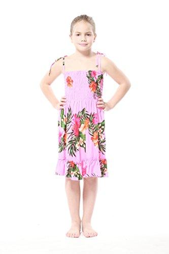 Nia-Elstico-Ruffle-Hawaiian-Luau-vestido-en-Rosa-Floral-8