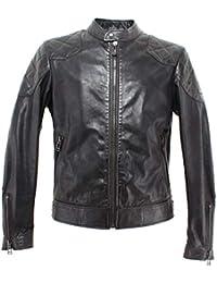 97e6db552c5 BELSTAFF 71020745 Outlaw Black Vestes Hommes Beckham Cuir Noir Nouveau