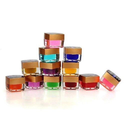 TOOGOO(R) pots de 12 couleur 3D Nail Art Crystal Glaze Solide Gel UV 8ml Builder