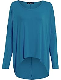 66bb8ff02f6c Womens Knit Knitted Lagenlook Oversized Layering Baggy One Off The Shoulder  Hi Lo Dip Dipped Hem Jumper Top Plus…