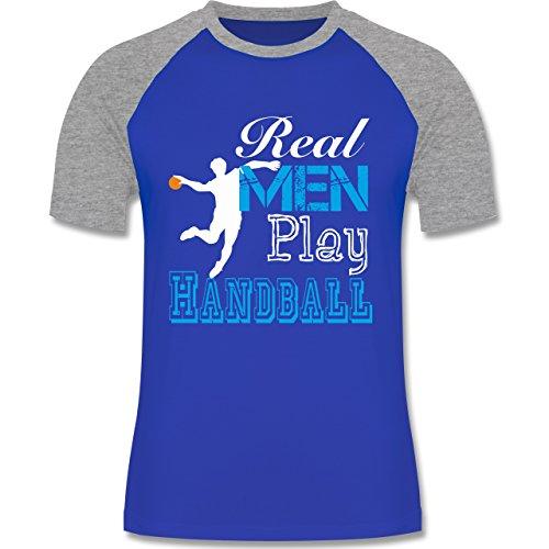 Handball - Real Men Play Handball - zweifarbiges Baseballshirt für Männer Royalblau/Grau meliert