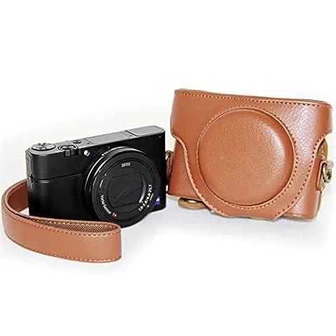 Tasche Schutzhülle Kameratasche für Sony Cyber-shot DSC-RX100, RX100 II u. RX100 III Leder Optik Braun