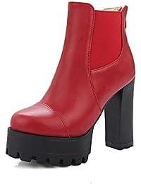 ZQ Zapatos de mujer-Tac¨®n Robusto-Tacones / Punta Redonda-Tacones-Vestido / Casual / Fiesta y Noche-PU-Negro / Rojo / Blanco / Beige , black-us4-4.5 / eu34 / uk2-2.5 / cn33 , black-us4-4.5 / eu34 / u