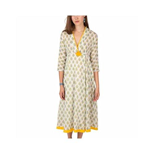 Zen*Ethic - Robe Pompon Feather Block Print - Voile de coton Gris