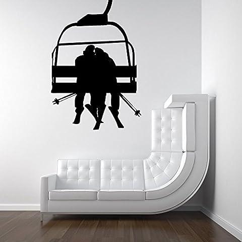 Ski Lift avec couple romantique–Sticker vinyle Chambre Home Office Decor