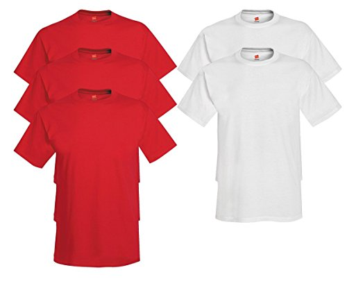 Hanes Comfort Soft Crew Neck 5 Pack Tee (Pack of 5) 3 Deep Red / 2 White