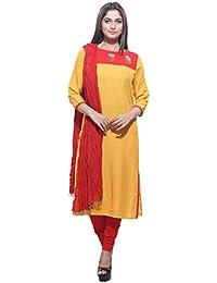 Rama Women's Embroidered Rayon Kurta With Legging Dupatta Set