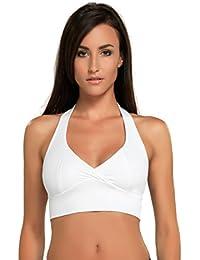 gWinner Maillot DODA Support Crop Top Double Sensitive Lining Femme Fitness Dance Disco, blanc