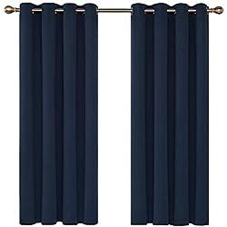 Deconovo Cortinas Opacas de Ventana con Ojales Aislamiento Térmico 2 Paneles 132 x 183 cm Azul Oscuro