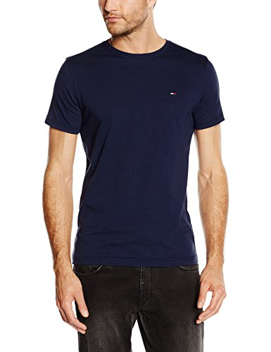 Hilfiger Denim Herren T-Shirt Original CN Knit s/s, Gr. Large, Blau (Knit Pique Shirt)