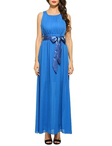 ance Maxikleid Falten Empire Lang Kleid Stretch Tailliert Kurzarm/Langarm Herbst (EU 38(Herstellergröße: M), B+Blau) ()
