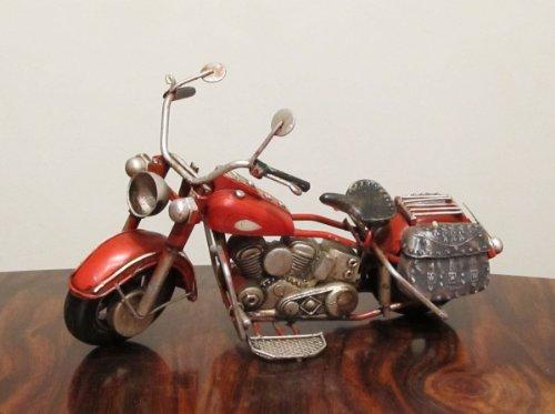 Nostalgie Blech Motorrad Rot mit Seitentaschen 19 cm langes Modell