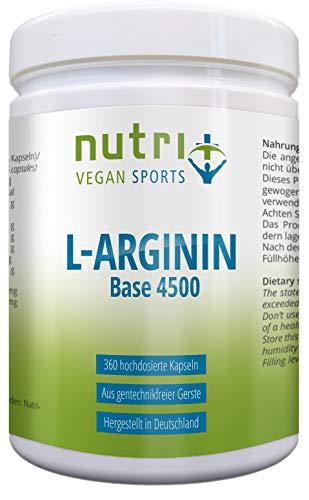 Nutri-Plus L-Arginin Base – Hochdosiert – Vegan – 3750 mg Arginin pro Tagesdosis