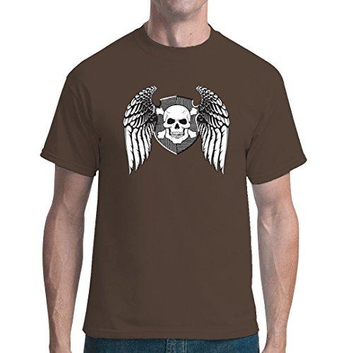 Biker unisex T-Shirt - Wappen Schädel Flügel by Im-Shirt - Bear Brown 5XL (Schädel-brown-t-shirt)
