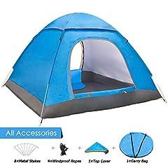 Idea Regalo - Yuanj Tenda da Campeggio per 3-4 Persone, Tenda Pieghevole Impermeabile a Due Porte con Borsa per Il Trasporto Facile da Montare, Tende per Zaino in Spalla per Viaggi di Coppia, Campeggio