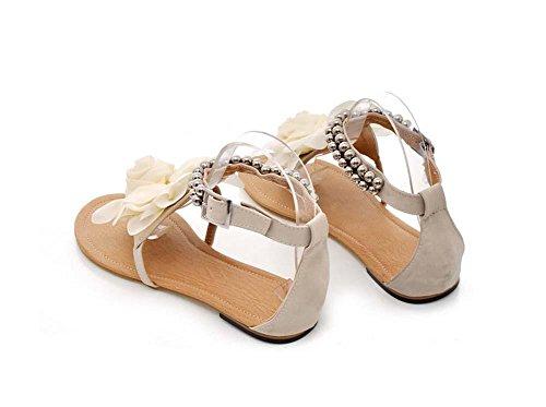 NobS Boemia Sandali Fiori Pattini Degli Appartamenti Grandi Dimensioni Donne Formato Sandali 40-43 Open Toe Piatto Cinturini Alla Caviglia Shoes beige