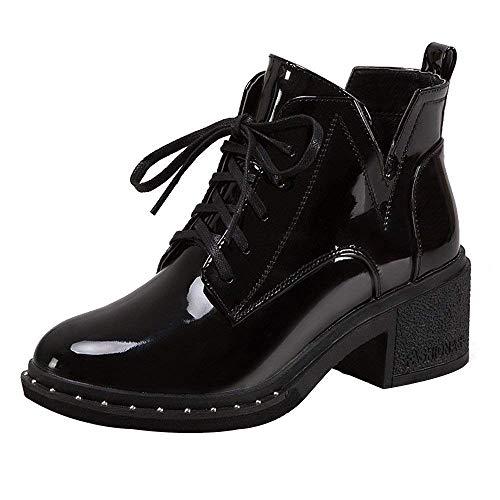 Schuhe Stiefel Damen Mode, Damenstiefel Round Toe Flache Schnürstiefel Casual Lackleder Martin Schuhe Kurze Stiefel Outdoor Boots (Farbe : Schwarz, Größe : 36EU) (Botas De Mujer Altas)