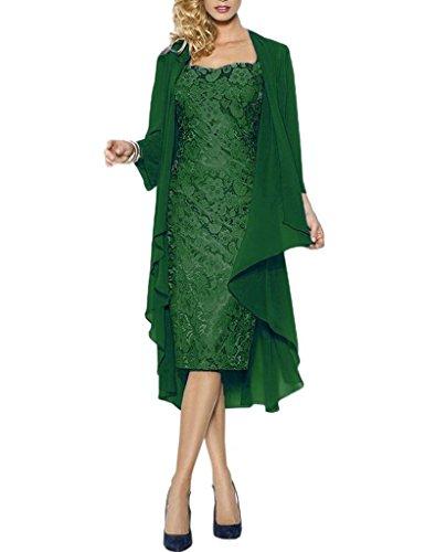 HWAN Spitze Mutter der Braut Kleider Kurze formale Kleider mit Chiffon Jacke Wraps Dunkelgr¨¹n (Chiffon Wrap Kleid Halfter)
