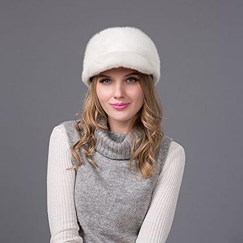 ZJJ Europa y la bola elegante visón de moda sombrero de piel de hierba casco caliente sombrero