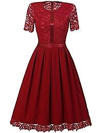 HOUSWEETY Schlank Kurzarm Spitzenkleid Frauen Kleid Petticoat Spitze Weinlese Kleid