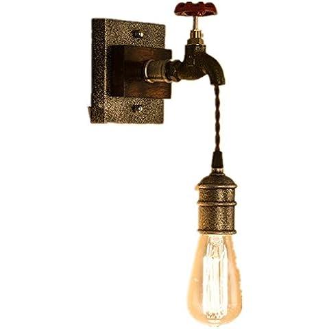 FWEF Lron pipa de agua de grifo mando lámpara de pared Retro Nostalgia Bar luz viento cafetería restaurante Bar creativa personalidad iluminación industrial . 1