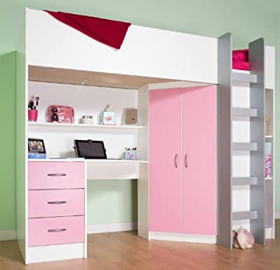High Sleeper Calder White / Pink High Bed M227 P