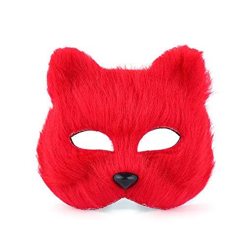 JingHeYongKeJi Halloween Fox Maske Cosplay Halbes Gesicht Tier Kopfbedeckung Cosplay Halloween-Partei-Kostüm ()