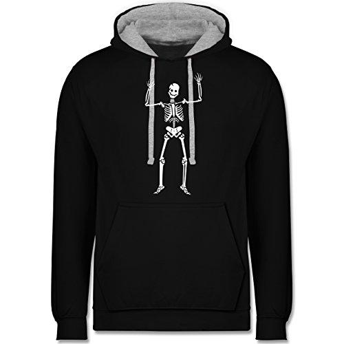 Shirtracer Halloween - Skelett Skeleton - 3XL - Schwarz/Grau meliert - JH003 - Kontrast ()
