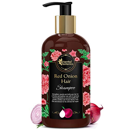 Oriental Botanics Red Onion Hair Shampoo, 300ml - With Biotin, Argan Oil, Caffeine, Protein, 27 Hair Boosters Controls Hair Loss & Supports Healthy Hair Growth