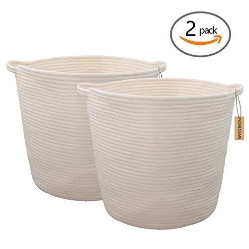INDRESSME 2 Pack XL Round Cotton Rope Storage Basket Baby Wäsche-Korb-Baskets Decke Decke Decke Decke Decke Decke Decke weich Boden Korb mit Griff für werfen Spielzeug 16.0