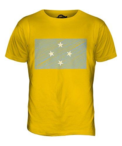 CandyMix Mikronesien Kritzelte Flagge Herren T Shirt Dunkelgelb