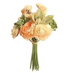 Ramos de novia artificial floral elegante boda Yesmile ❤️ Multicolor Rosa fantasma Peonía Seda superior Ramo de flores…