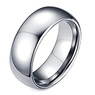 AnazoZ Fashion Jewelry Simple Personality 8.0Mm Tungsten Ring For Men Anol Wedding