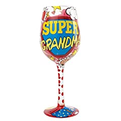 Idea Regalo - Lolita Enesco 4056859-Lolita La Super Nonna Bicchiere da Vino, Multicolore, 8.5 x 8.5 x 22.5 cm