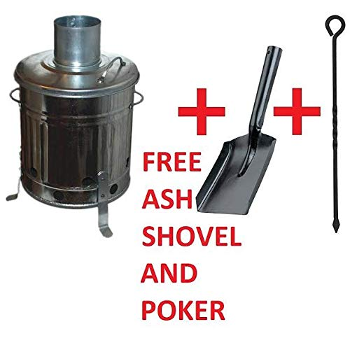 Small Medium Large 15L 60L 90L Litre Metal Galvanised Garden Incinerator Fire Bin Burning Leaves Paper Wood Rubbish Dustbin Shovel and Poker Made In U. K. (15L INC with Shovel&Poker)