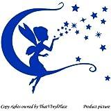 Hada con luna, diseño de estrellas y columpio adhesivo decorativo para pared 30 x 28 cm Color Azul Hada azul, sprite, peri, fay, en forma de cubo para, mixed pegatinas para la pared, vinilo de coche, Windows y adhesivo decorativo para pared, de pared Windows Art, adhesivo, diseño de vinilo adhesivo ThatVinylPlace