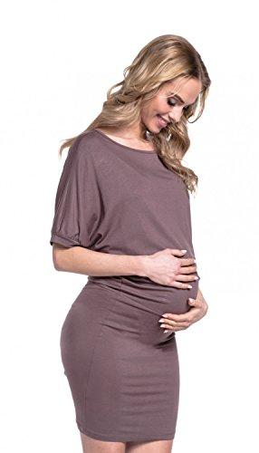Happy Mama. Maternité Femme Robe Grossesse Tissu Jersey Col Bateau. 700p Cappuccino