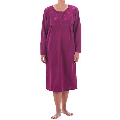Romesa Thermo Nachthemd - angerauht unifarbend mit hochweritiger Stickerei, kuschlig warm, - Nachthemd Thermo Langarm