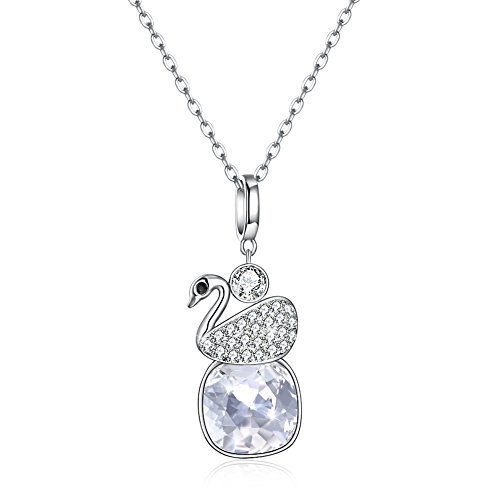 54fbe761a997 LEKANI 925 Sterling Silver Swan Pendant Necklace with Swarovski Crystals