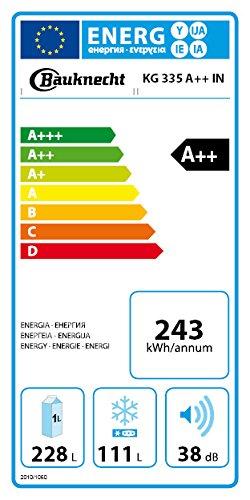Bauknecht KG 335 A++ IN Kühl-Gefrier-Kombination/189 cm Höhe/243 kWh/Jahr/228 l Kühlteil/111 l Gefrierteil/Flüsterleise mit 38 dB/Edelstahl ProTouch