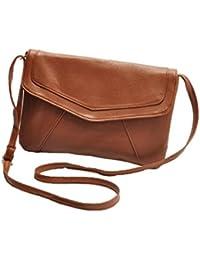 Mesdames moyennes sur sac de messager d'épaule rabat bandoulière, couleurs: noir, marron et bleu