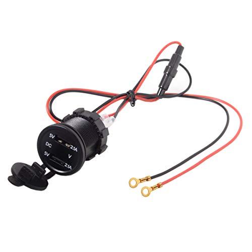 Cablecc Kfz-Ladeadapter mit 2 USB-Anschlüssen, wasserdicht, für Handy, GPS, MP4 - Marine-zubehör