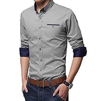 IndoPrimo Men's Cotton Casual Shirt for Men Full Sleeves (Grey, Small - 38)