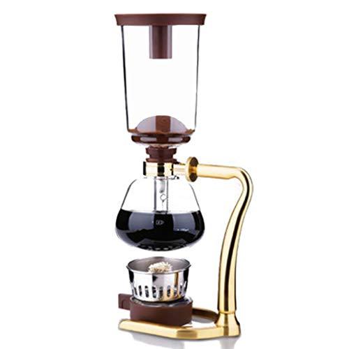 Vakuum-Kaffeebereiter Siphon Kaffeemaschine Set Coffee Siphon Technia Edelstahl Siphon Topf Glas Siphon Kaffeemaschine 2 Farben, 3 Tassen, 17,5 * 37cm (Farbe : A) (Glas-siphon Kaffeemaschine)