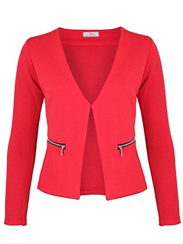 Damen Blazer mit Taschen (382), Farbe:Rot, Kostüme & Blazer für Damen:40 / L