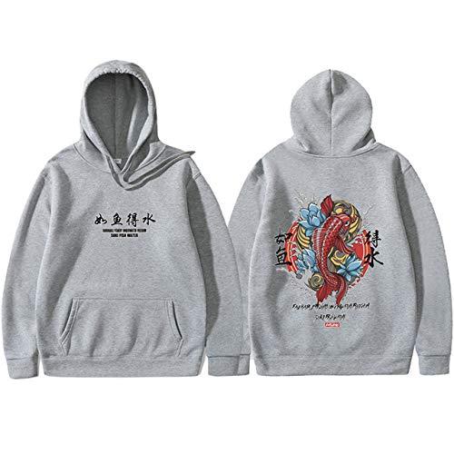 HNOSD Männer Hip Hop Kapuzenpullis Japanese Style Koi Casual Sweatshirts Streetwear Männer/Frauen Pullover Hellgrau XXXL