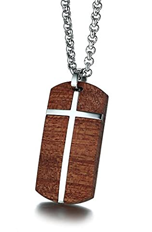 Vnox Men's Stainless Steel Koa Wood Christ Cross Dog Tag Pendant Necklace High Quality,Free Rolo Chain