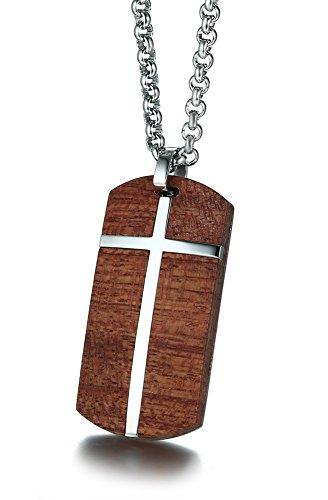 Vnox Männer Edelstahl Koa Holz Christus Kreuz Hund Tag Anhänger Halskette Qualität,freie Rolo Kette